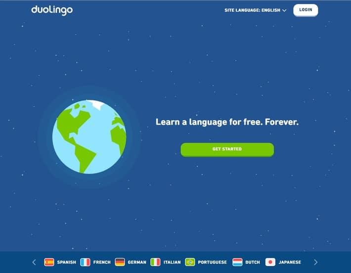 Duolingo landing page